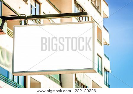 Rectangular shape mock up signboard of shop, store outdoors.