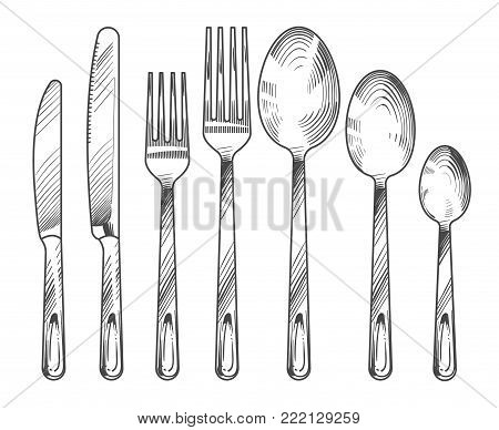 Sketch silver knife, fork and spoon. Hand drawn cutlery vector set. Cutlery silver knife and fork, sketch dinner silverware illustration