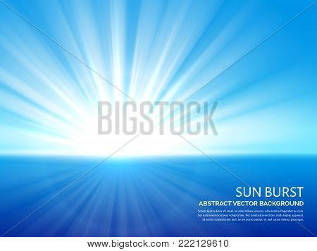 White sun burst in blue sky. Abstract sunlight bursting effect vector background. Sun energy and sunlight ray illustration