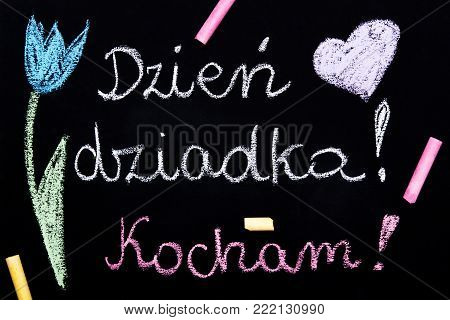 Polish Grandfather's day card with words: Grandfather's day. I love You. - Chalk drawing on blackboard