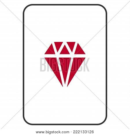 Ruby playing card icon. Vector style is a flat symbol of ruby on a gambling card.