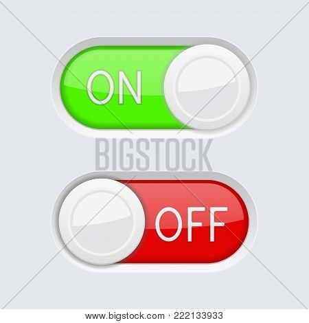 Toggle switch buttons. Green and red ON and OFF symbols. Vector 3d illustration