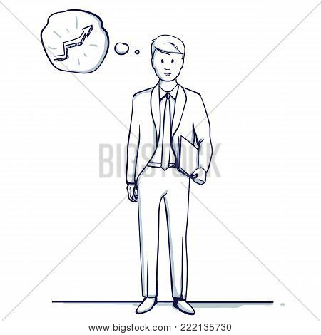 Young business man stands. He is happy, positive result, successful business, growth trend. Hand drawn doodle cartoon vector illustration.