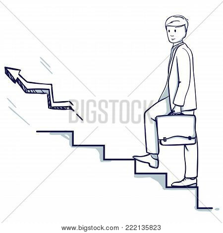 Young business man go up the stairs. In his hand is a suitcase. It symbolizes career growth, promotion, successful business. Hand drawn doodle cartoon vector illustration.