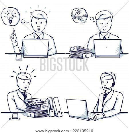 Set of business man cartoon illustration. Sitting scenes: customer support service, had an idea, he is busy, doesn't have time to work, dreams of a vacation. Hand drawn doodle vector illustration.