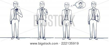 Set of business man cartoon illustration. Stands scenes: He is happy, remembers the woman, coughs, fell ill, holds a folder, with a microphone, sings or speaks.Hand drawn doodle vector illustration.