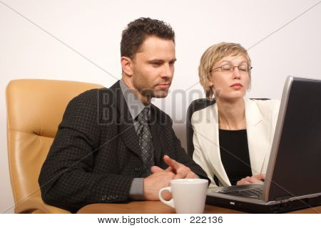 Business Man & Woman Working Together 2