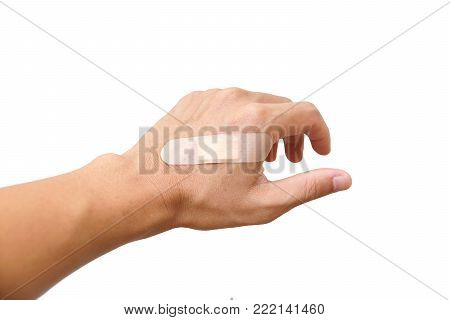 Male Hand With First Aid Plaster Isolated