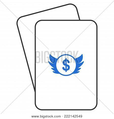 Angel Investment playing cards pictogram. Vector style is gambling card with angel investment symbol.
