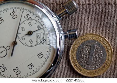 Turkish Coin With A Denomination Of One Lira And Stopwatch On Worn Beige Jeans Backdrop - Business B
