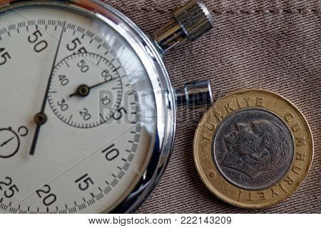 Turkish coin with a denomination of 1 lira (back side) and stopwatch on worn beige denim backdrop - business background