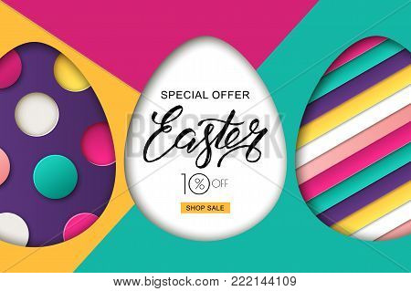 Happy Easter Sale Banner. Design For Holiday Flyer, Poster, Greeting Card, Party Invitation. Vector
