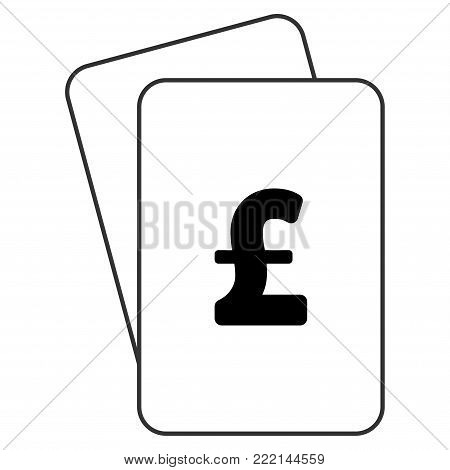 Pound Sterling playing cards icon. Vector style is gambling card with pound sterling symbol.