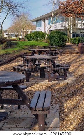 Picnic Area Next To Some Office Buildings On A Business Park