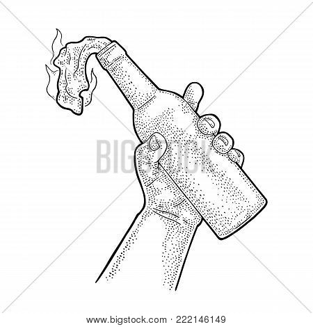 Male hand holding Molotov Cocktail. Glass bottle with gasoline and rag wick. Engraving vintage vector black illustration. Isolated on white background. Hand drawn design element for label and poster