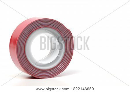Two sided adhesive tape in red color