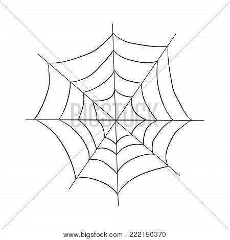 contour pattern of a web. drawing by hand. Halloween illustration.