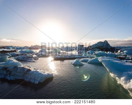 View of melting down glacier due to global warming.