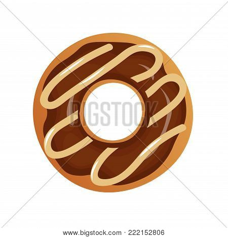 Vector Isolated Donut. Modern Flat And Cartoon Geometric Donuts On White Background. For Logo, Stick