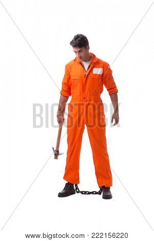 Prisoner with axe isolated on white background