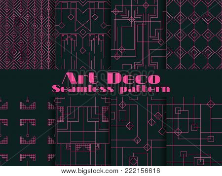 Set Of Seamless Patterns Of Art Deco. Lines And Geometric Figures On The Background.  Style 1920's,