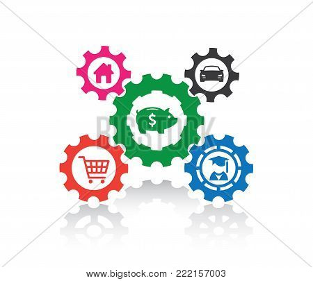 vector illustration of financial economy, rent, debt, education, income, out come with how gears work