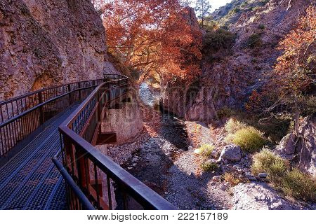 Glenwood, USA, 2017.11.24.: The catwalk in the Whitewater Canyon in the USA.