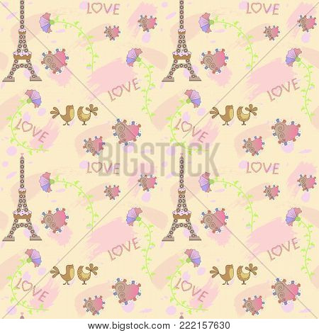 Romantic background, vector image, seamless background, theme love