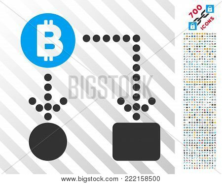 Bitcoin Cashflow icon with 7 hundred bonus bitcoin mining and blockchain pictures. Vector illustration style is flat iconic symbols design for blockchain apps.