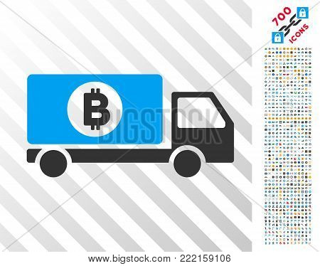 Bitcoin Delivery Lorry pictograph with 7 hundred bonus bitcoin mining and blockchain pictographs. Vector illustration style is flat iconic symbols design for blockchain websites.