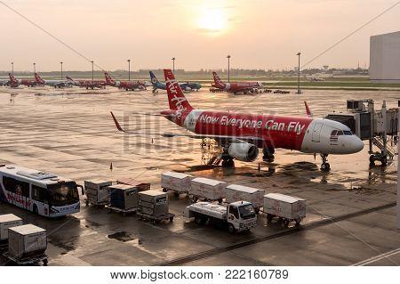 Bangkok, Thailand - May 23, 2017: Airliner Air-asia Airbus At Bangkok Donmuang Airport On May 23, 20