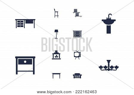 Set of 12 situation icons set. Collection of washbasin, bar stool, dining table and other elements.