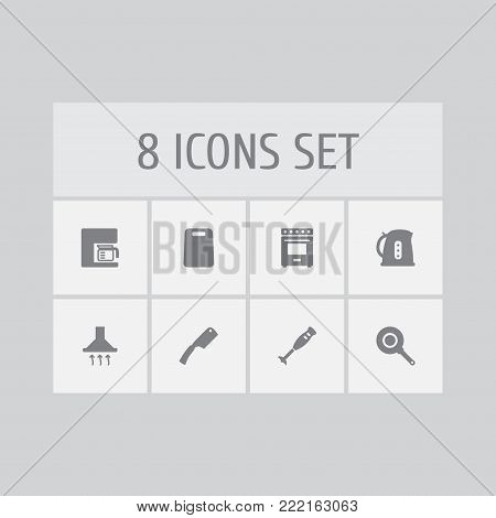 Set of 8 cooking icons set. Collection of kitchen ax, skillet, extractor hood and other elements.