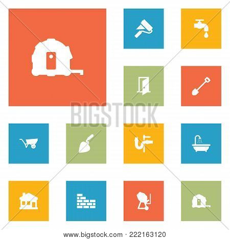 Set of 12 construction icons set. Collection of wall painter, trowel, plumbing and other elements.
