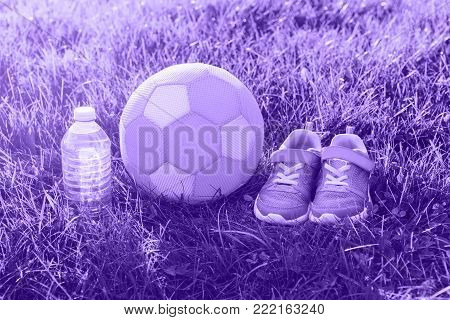 Pair of ultra violet girl sneakers shoes, child fabric soft soccer ball and bottle of water in grass outside, on evening. Activity recreation concept. Healthy lifestyle.