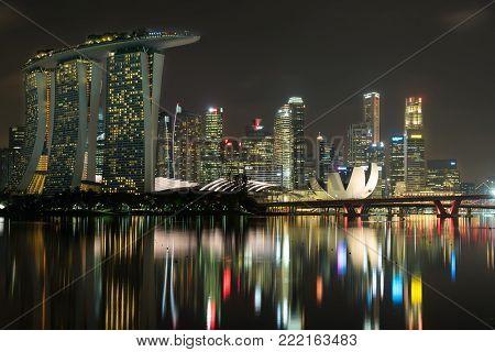 Marina Bay Sands, Singapore - May 23, 2017: Marina Bay Hotel View From Marina Barrage At Night In  M