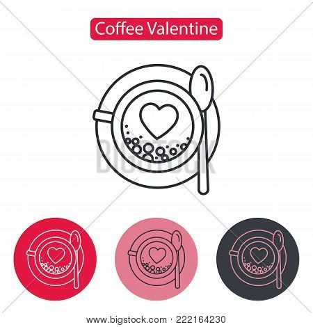 Mug of coffee icon. Cup of cappuccino with heart image. Inscription Good morning. Linear style pictogram isolated on white. Love symbol, logo sign. Valentine's Day vector illustration. Editable stroke