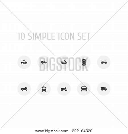 Collection Of Side View, Lorry, Streetcar And Other Elements.  Set Of 10 Shipping Icons Set.