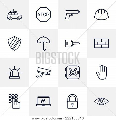 Collection Of No Entry, Safe, Helmet And Other Elements.  Set Of 16 Safety Outline Icons Set.