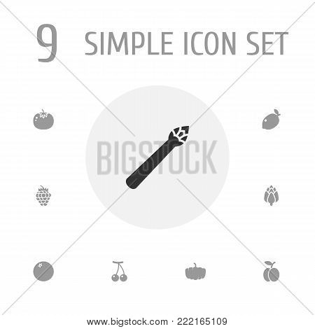 Collection Of Sparrow Grass, Gourd, Herbaceous And Other Elements.  Set Of 9 Vitamin Icons Set.