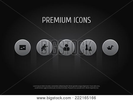Collection Of Paper Figure, Learning, Checkmate And Other Elements.  Set Of 5 Lifestyle Icons Set.