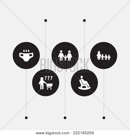 Collection Of Nanny, Rocking Chair, Nappy And Other Elements.  Set Of 5 People Icons Set.