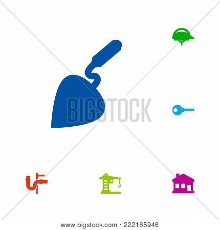 Collection Of Bricklayer, Building Machinery, Home And Other Elements.  Set Of 6 Construction Icons Set.