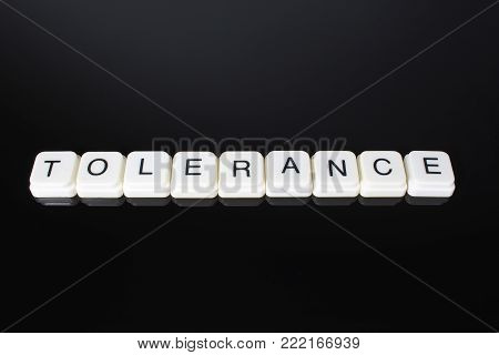 Tolerance text word title caption label cover backdrop background. Alphabet letter toy blocks on black reflective background. White alphabetical letters. White educational toy block with words on mirror board table.
