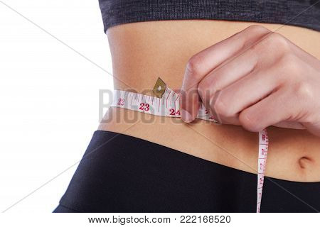 Close Up Woman Measuring Waist With Tape Isolated On White