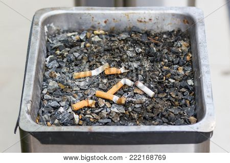 the concept of the world no tobacco day, Many cigarette stubs in the ashtray