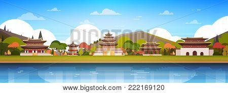 Korea Palaces On River Landscape South Korean Temple Over Mountains Famous Asian Landmark View Horizontal Banner Flat Vector Illustration