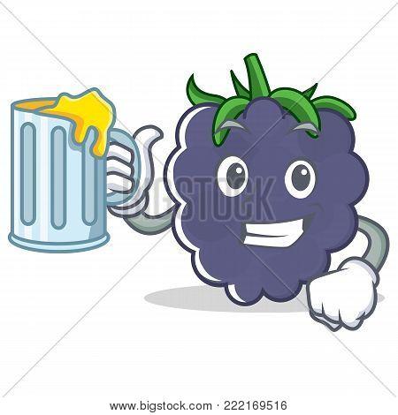 With juice blackberry mascot cartoon style vector illustration