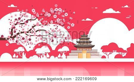 Korea Temple Silhouette Poster Palace Over Sakura Trees South Korean Famous Landmark View Flat Vector Illustration