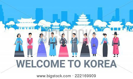 Welcome To Korea People In Traditional Costumes Over Palace Famous Korean Landmarks Silhouette Tourism Poster Flat Vector Illustration